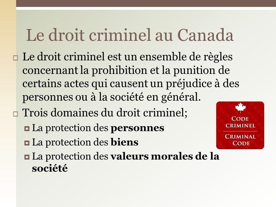 Le droit criminel au Canada