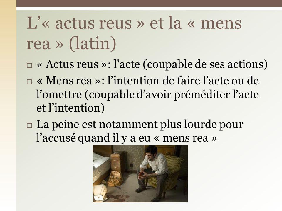 L'« actus reus » et la « mens rea » (latin)