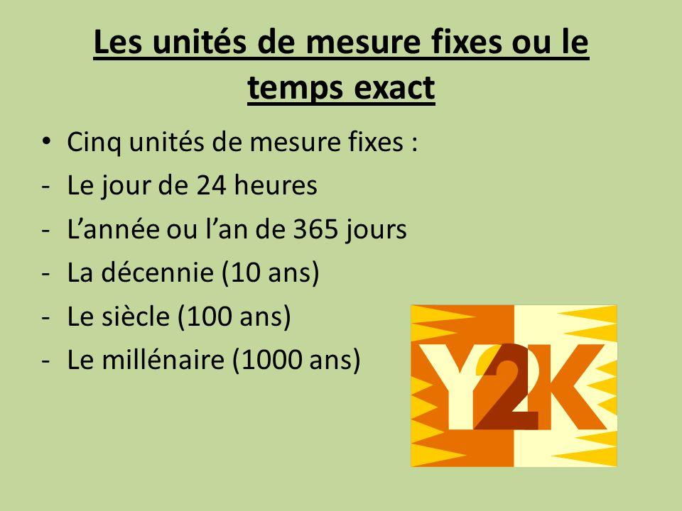 Les unités de mesure fixes ou le temps exact
