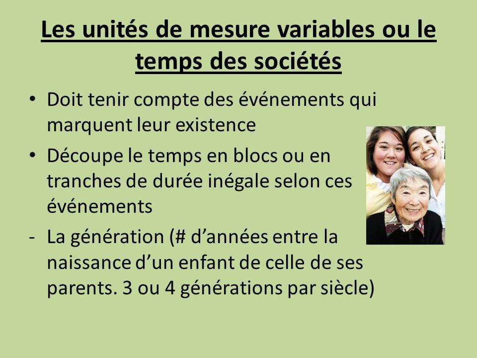 Les unités de mesure variables ou le temps des sociétés