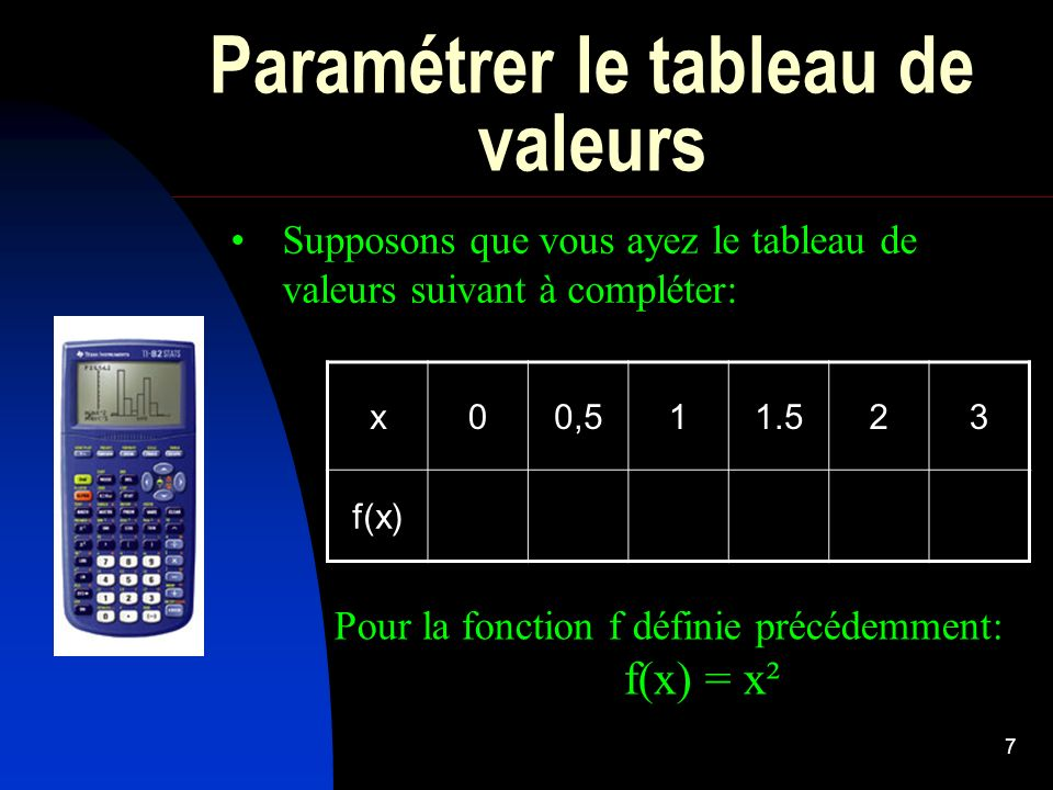 Paramétrer le tableau de valeurs