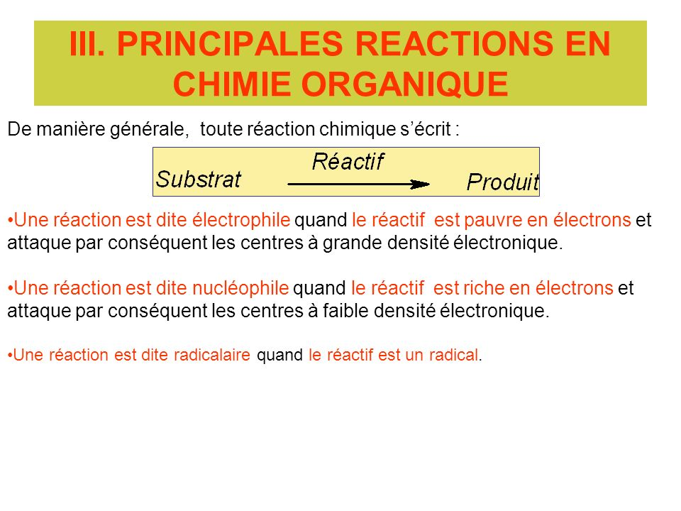 III. PRINCIPALES REACTIONS EN CHIMIE ORGANIQUE