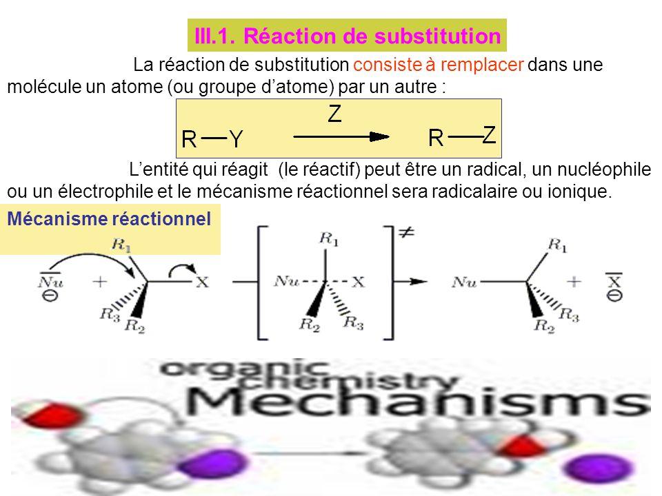 III.1. Réaction de substitution
