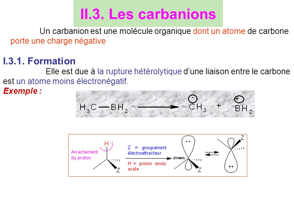 II.3. Les carbanions I.3.1. Formation
