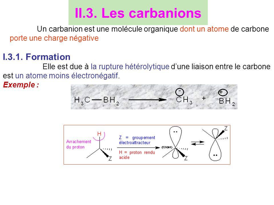 II.3. Les carbanions I.3.1. Formation