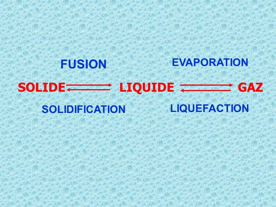 FUSION EVAPORATION SOLIDE LIQUIDE GAZ SOLIDIFICATION LIQUEFACTION
