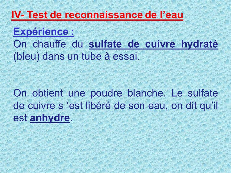 IV- Test de reconnaissance de l'eau