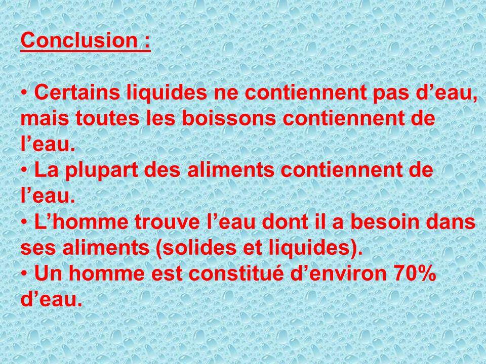 Conclusion : Certains liquides ne contiennent pas d'eau, mais toutes les boissons contiennent de l'eau.
