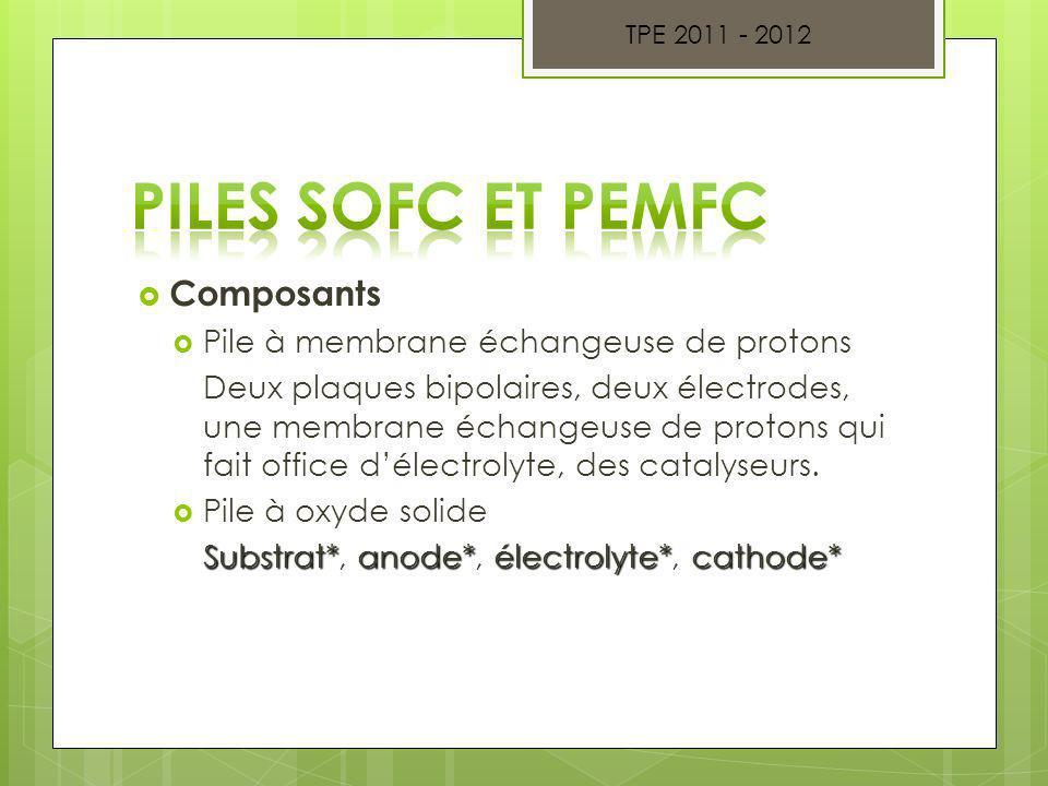 Piles SOFC et PEMFC Composants Pile à membrane échangeuse de protons