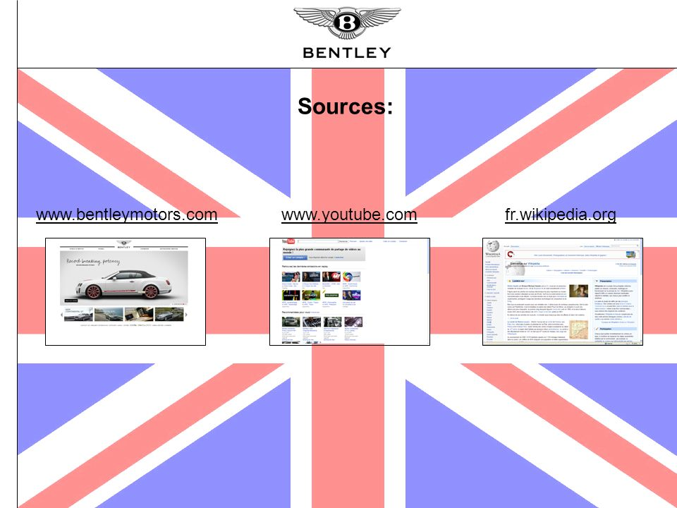 Sources: www.bentleymotors.com www.youtube.com fr.wikipedia.org