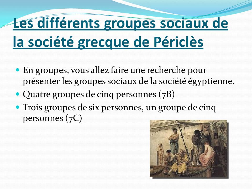 Les différents groupes sociaux de la société grecque de Périclès