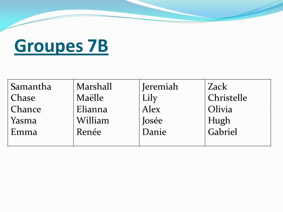 Groupes 7B Samantha Chase Chance Yasma Emma Marshall Maëlle Elianna
