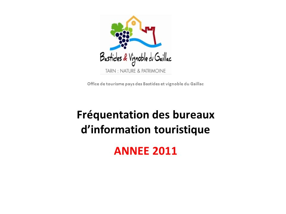 O Office de tourisme pays des Bastides et vignoble du Gaillac Fréquentation des bureaux d'information touristique ANNEE 2011