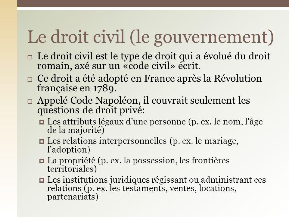 Le droit civil (le gouvernement)