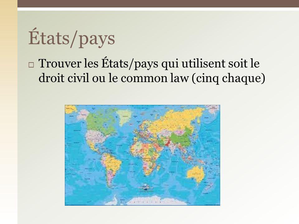États/pays Trouver les États/pays qui utilisent soit le droit civil ou le common law (cinq chaque)