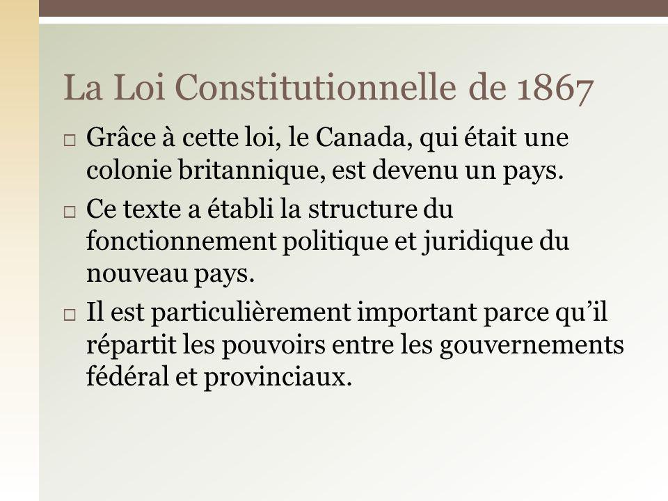 La Loi Constitutionnelle de 1867