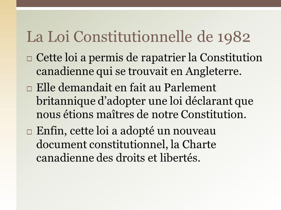 La Loi Constitutionnelle de 1982