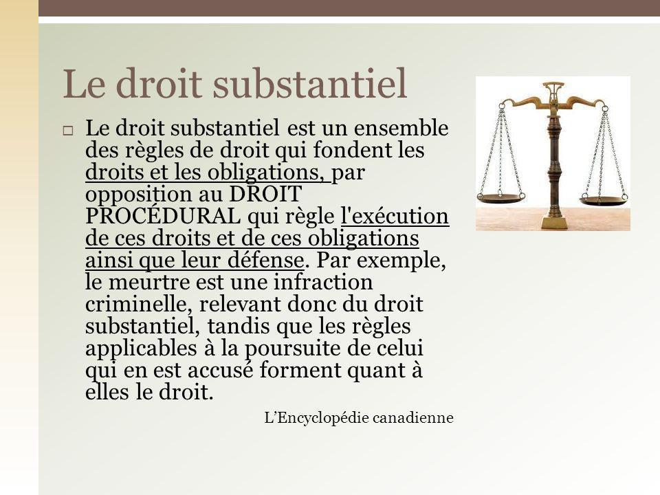 Le droit substantiel