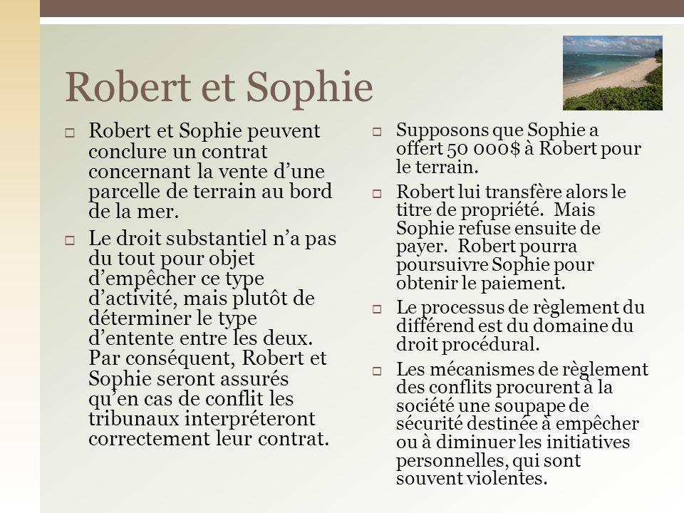 Robert et Sophie Robert et Sophie peuvent conclure un contrat concernant la vente d'une parcelle de terrain au bord de la mer.