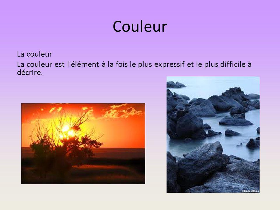 Couleur La couleur La couleur est l élément à la fois le plus expressif et le plus difficile à décrire.