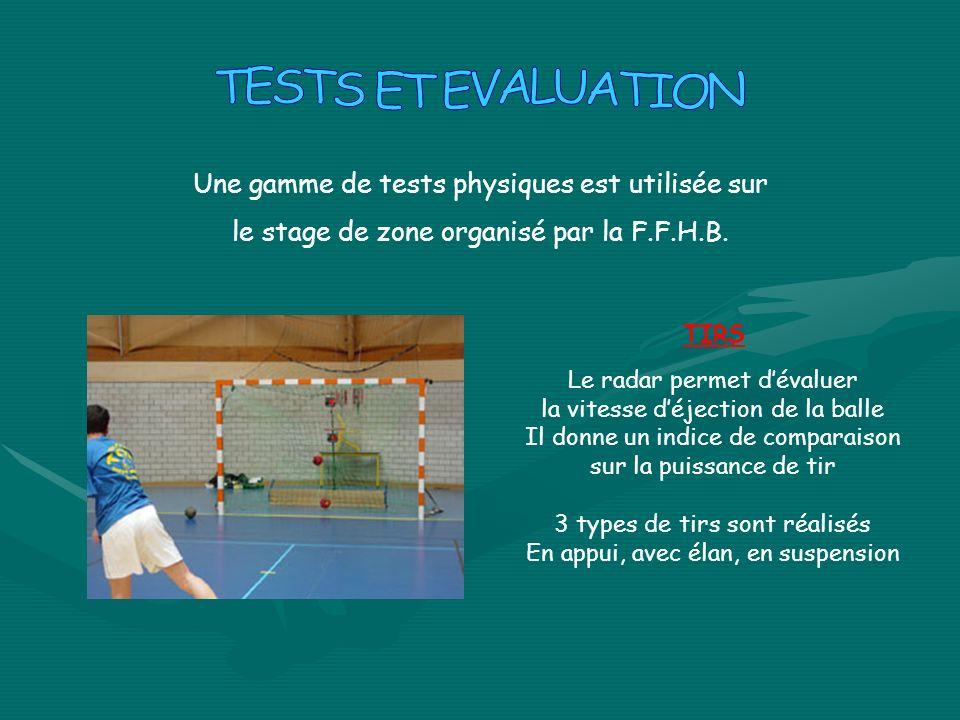 TESTS ET EVALUATION Une gamme de tests physiques est utilisée sur