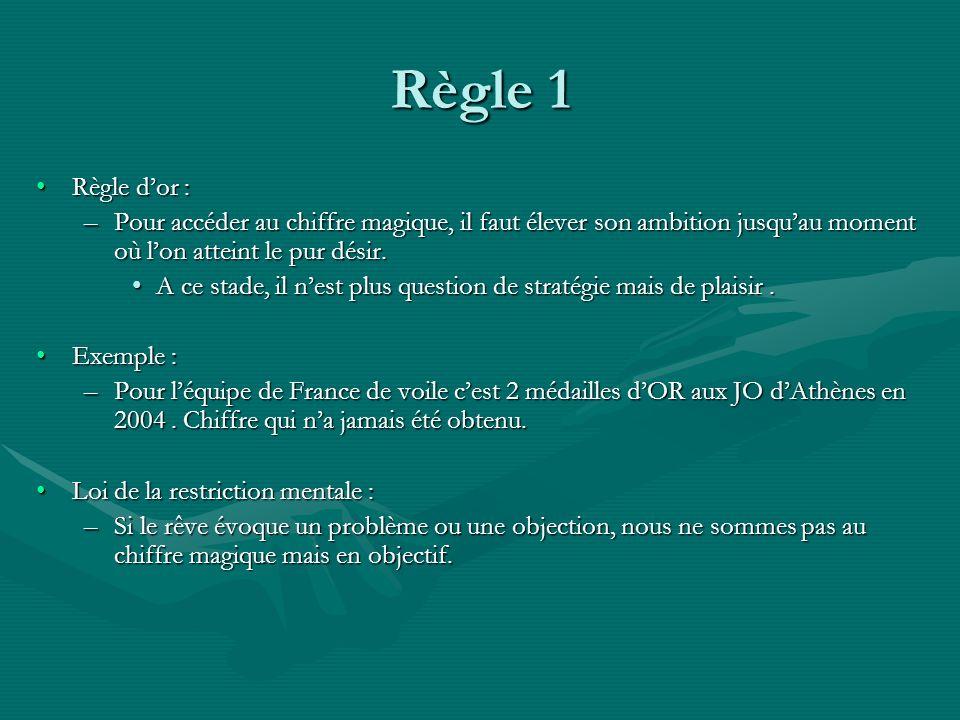 Règle 1 Règle d'or : Pour accéder au chiffre magique, il faut élever son ambition jusqu'au moment où l'on atteint le pur désir.