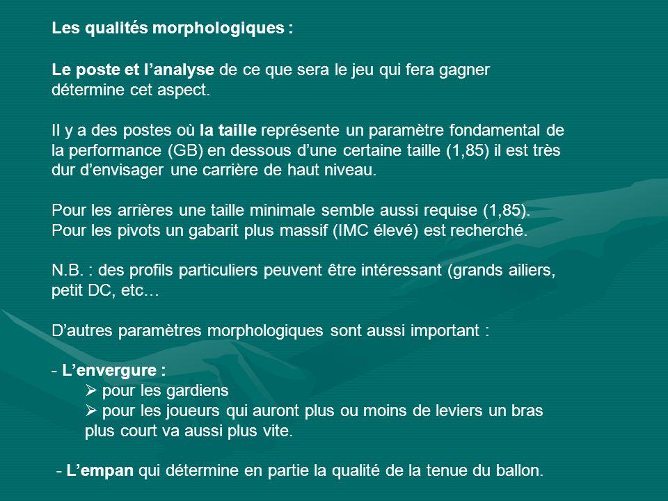 Les qualités morphologiques :