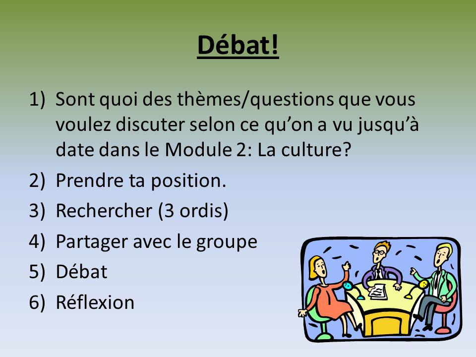 Débat! Sont quoi des thèmes/questions que vous voulez discuter selon ce qu'on a vu jusqu'à date dans le Module 2: La culture