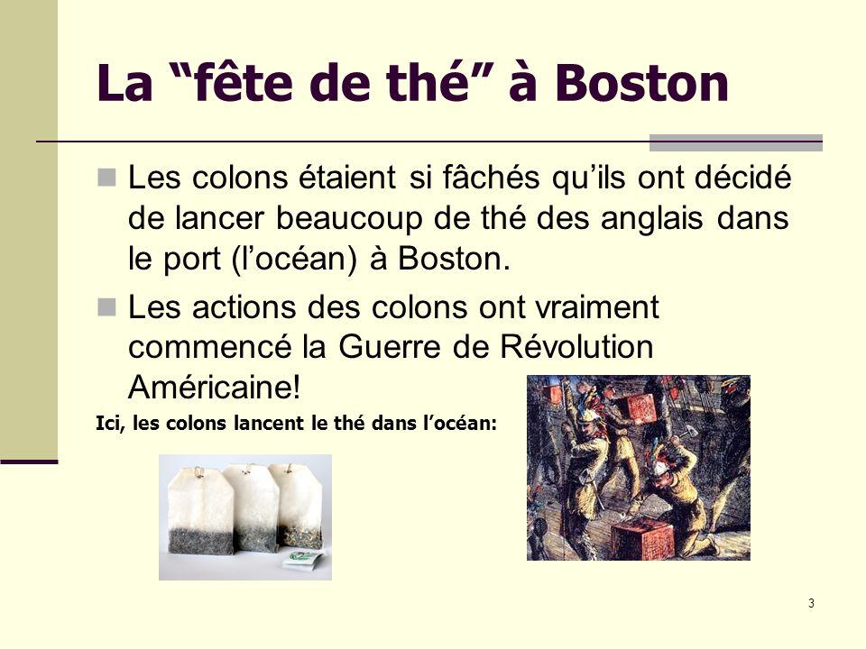 La fête de thé à Boston