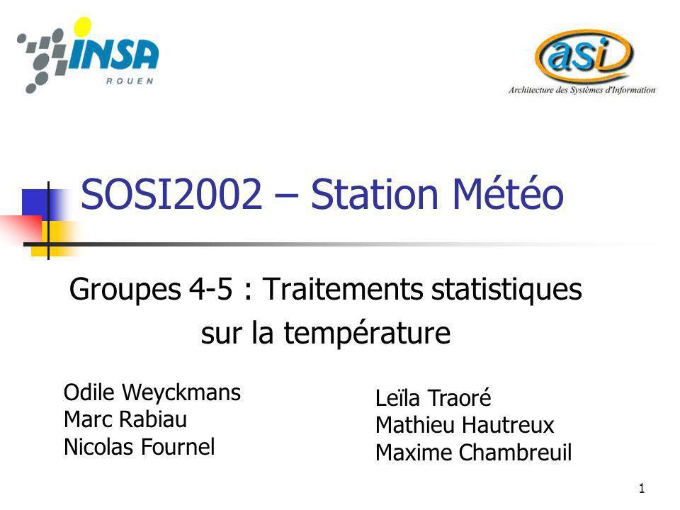 Groupes 4-5 : Traitements statistiques sur la température