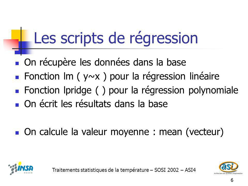 Les scripts de régression