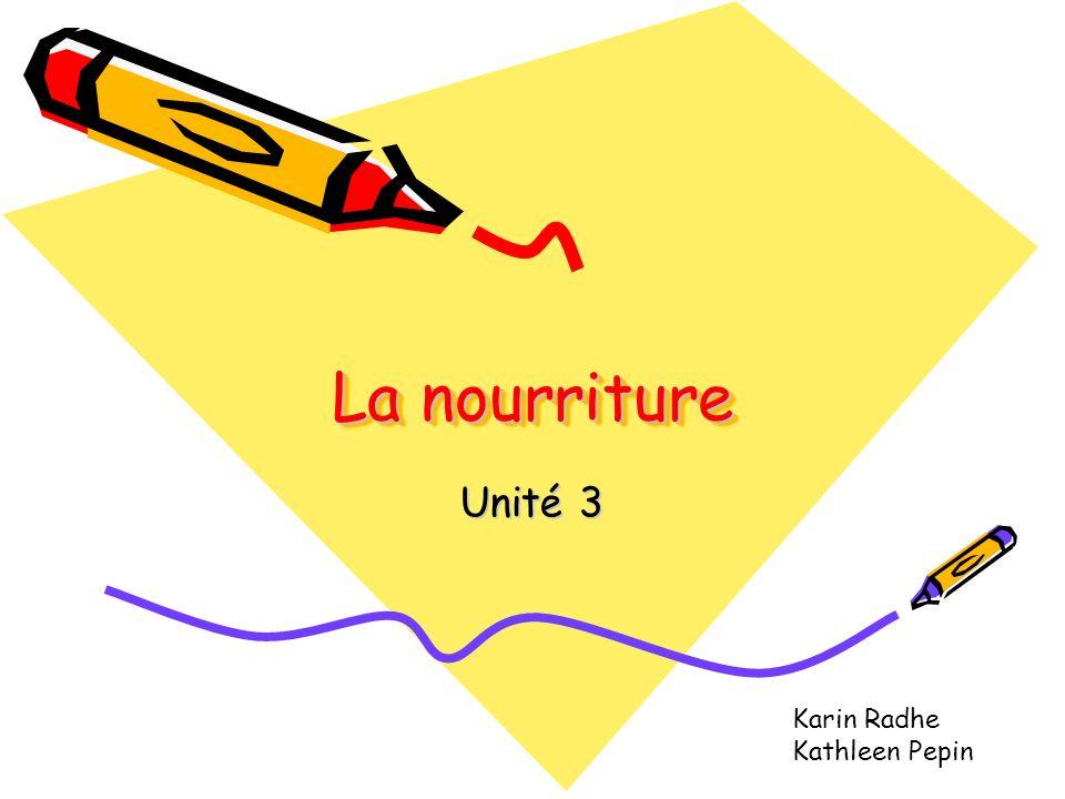 La nourriture Unité 3 Karin Radhe Kathleen Pepin Notes: