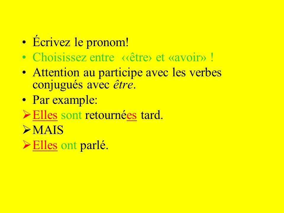 Écrivez le pronom! Choisissez entre ‹‹être› et «avoir» ! Attention au participe avec les verbes conjugués avec être.