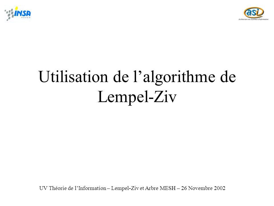 Utilisation de l'algorithme de Lempel-Ziv