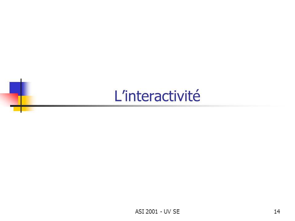 L'interactivité ASI 2001 - UV SE