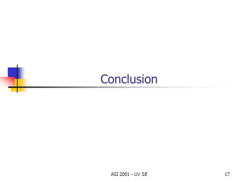 Conclusion ASI 2001 - UV SE