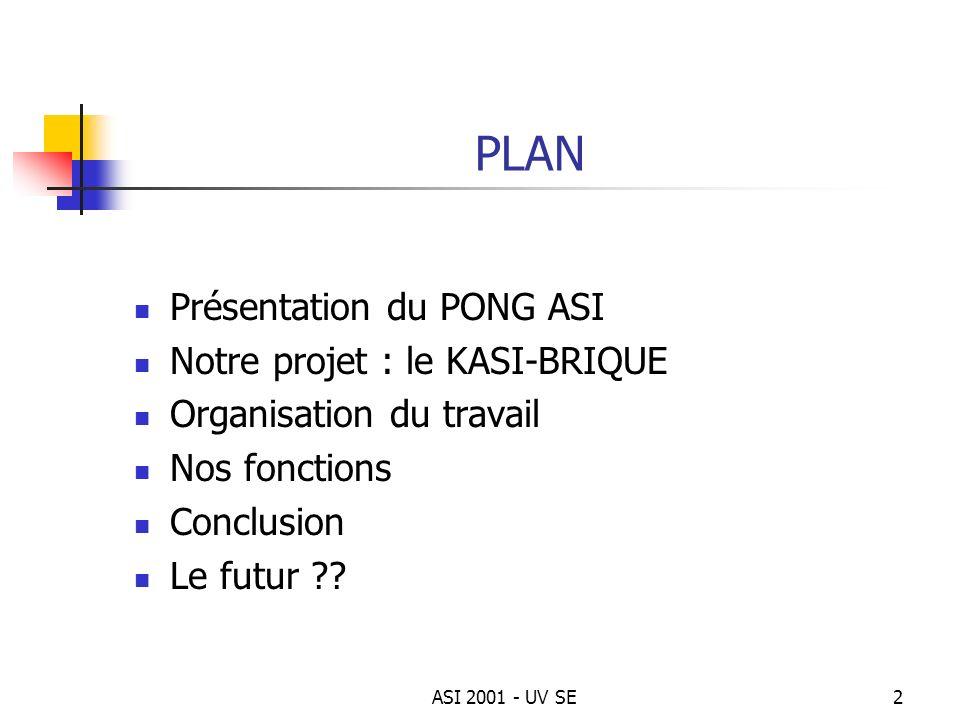 PLAN Présentation du PONG ASI Notre projet : le KASI-BRIQUE
