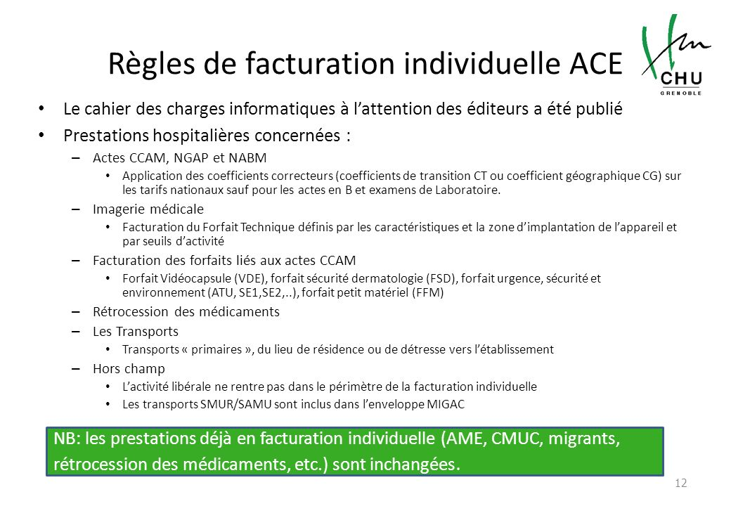 Règles de facturation individuelle ACE