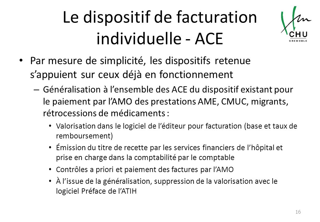 Le dispositif de facturation individuelle - ACE