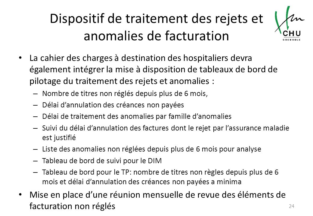 Dispositif de traitement des rejets et anomalies de facturation