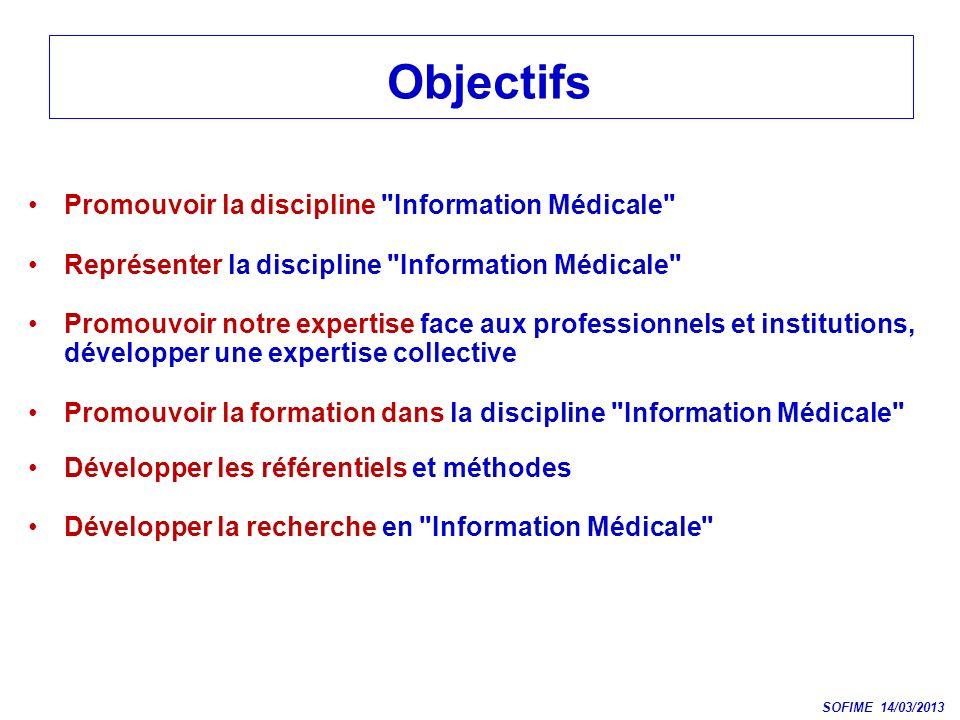 Objectifs Promouvoir la discipline Information Médicale