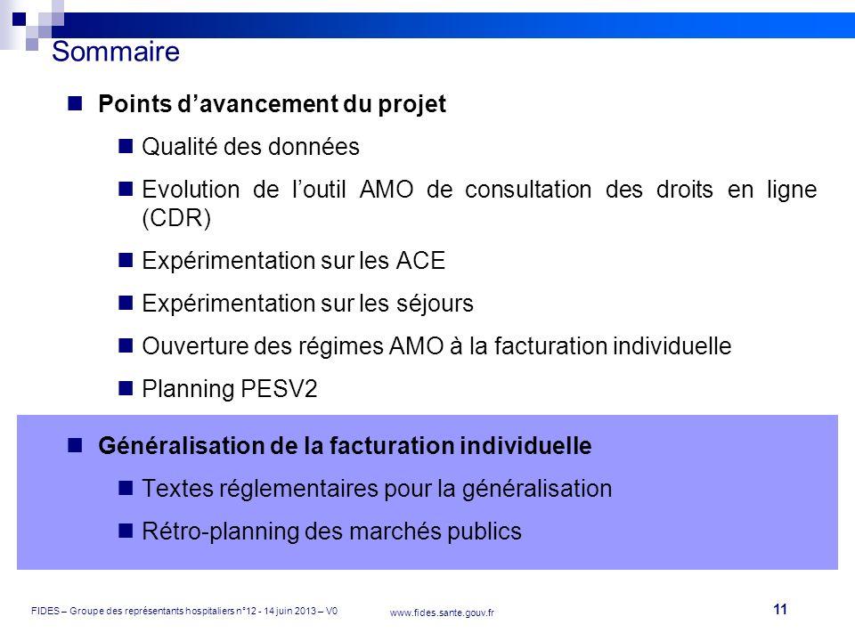 Sommaire Points d'avancement du projet Qualité des données