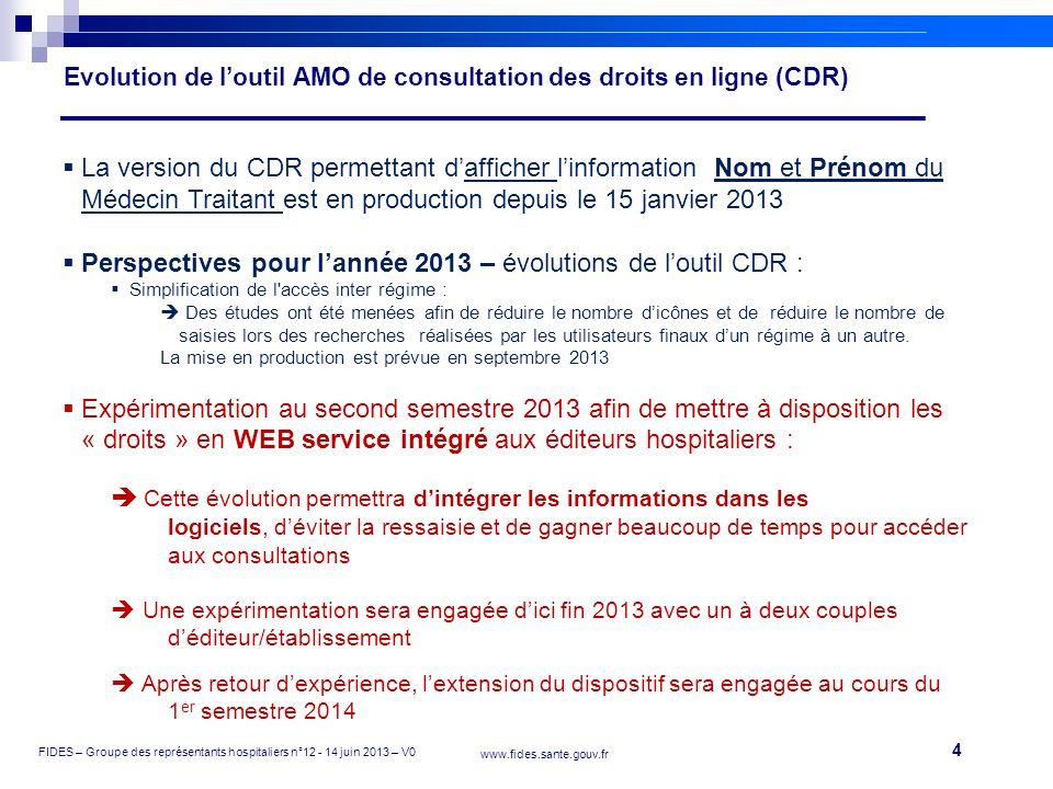 Evolution de l'outil AMO de consultation des droits en ligne (CDR)