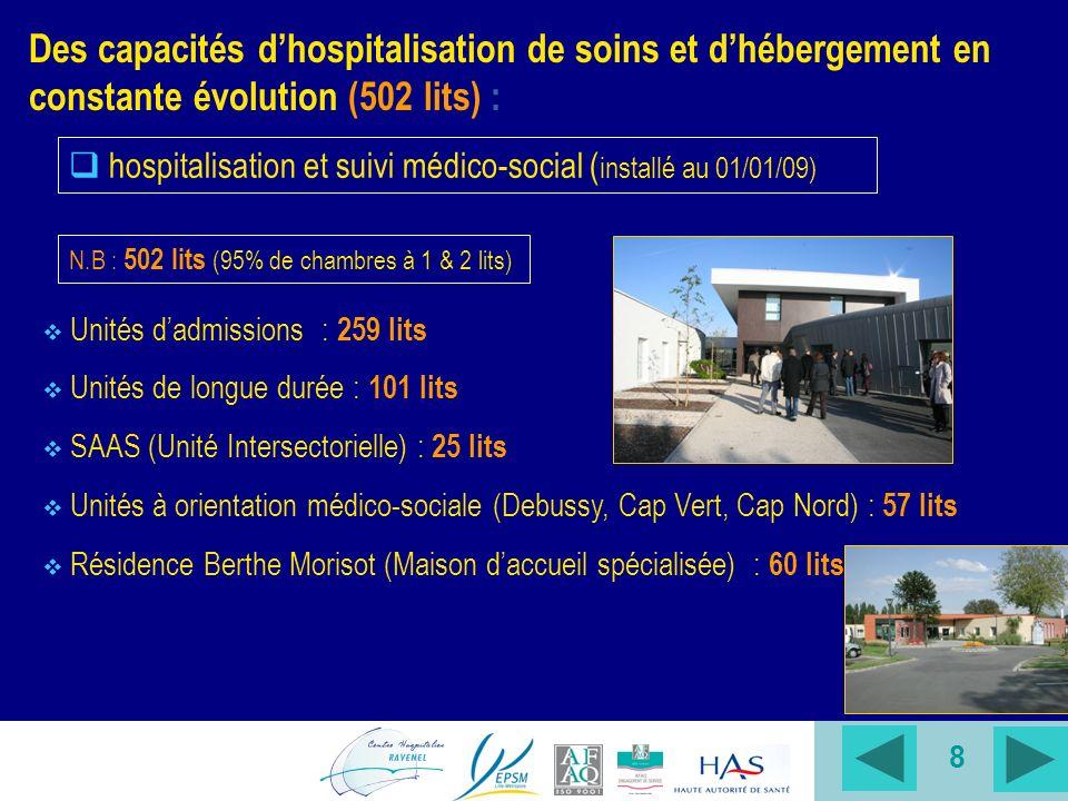 Des capacités d'hospitalisation de soins et d'hébergement en constante évolution (502 lits) :