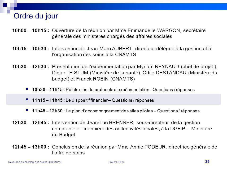 Ordre du jour10h00 – 10h15 : Ouverture de la réunion par Mme Emmanuelle WARGON, secrétaire générale des ministères chargés des affaires sociales.