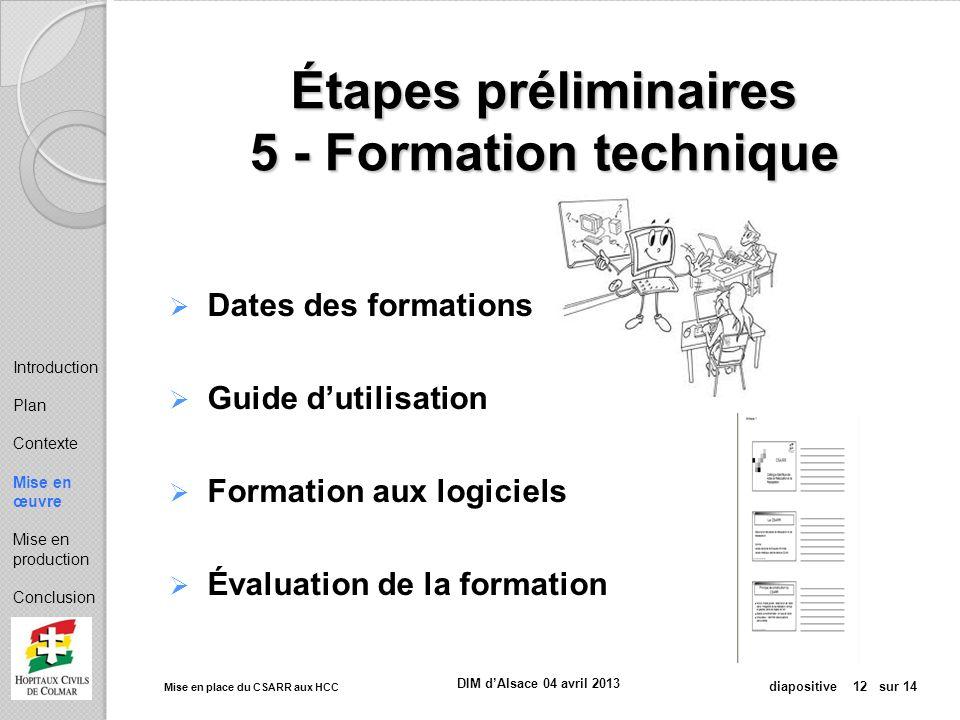 Étapes préliminaires 5 - Formation technique