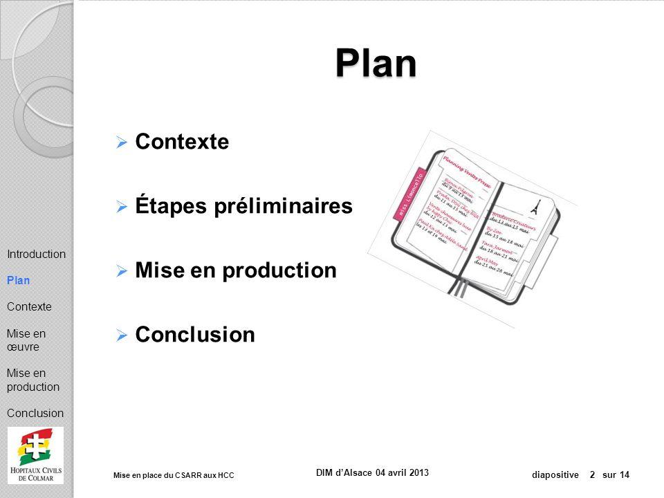 Plan Contexte Étapes préliminaires Mise en production Conclusion