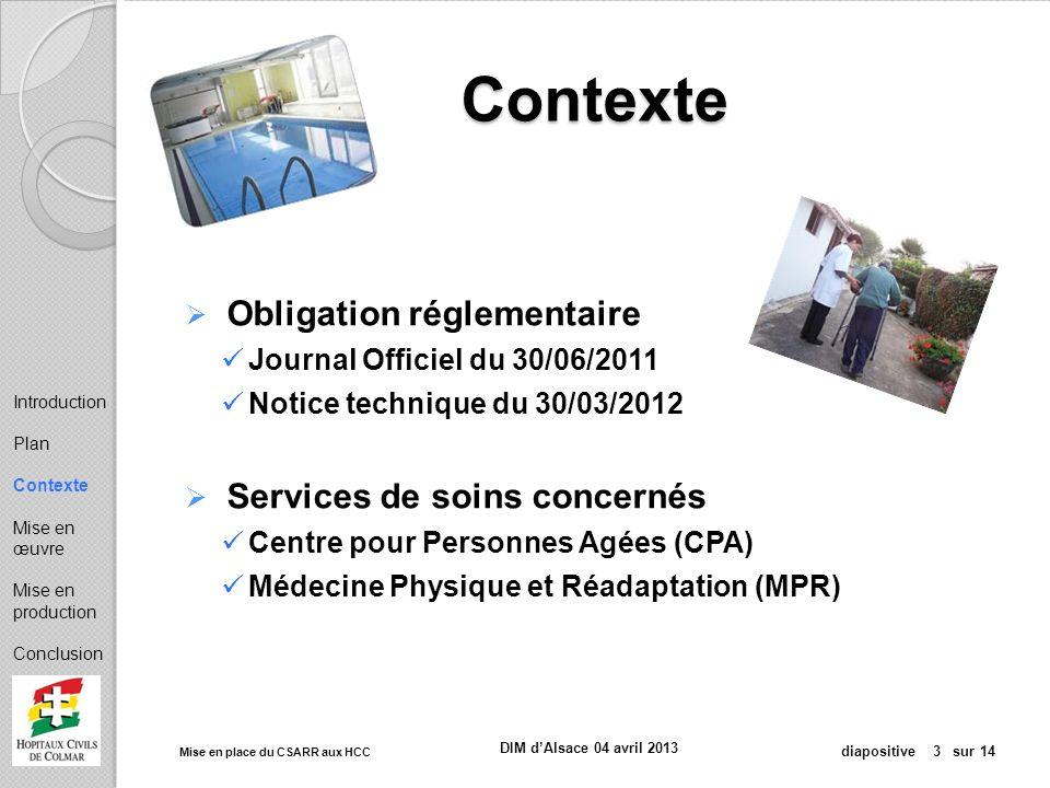 Contexte Obligation réglementaire Services de soins concernés
