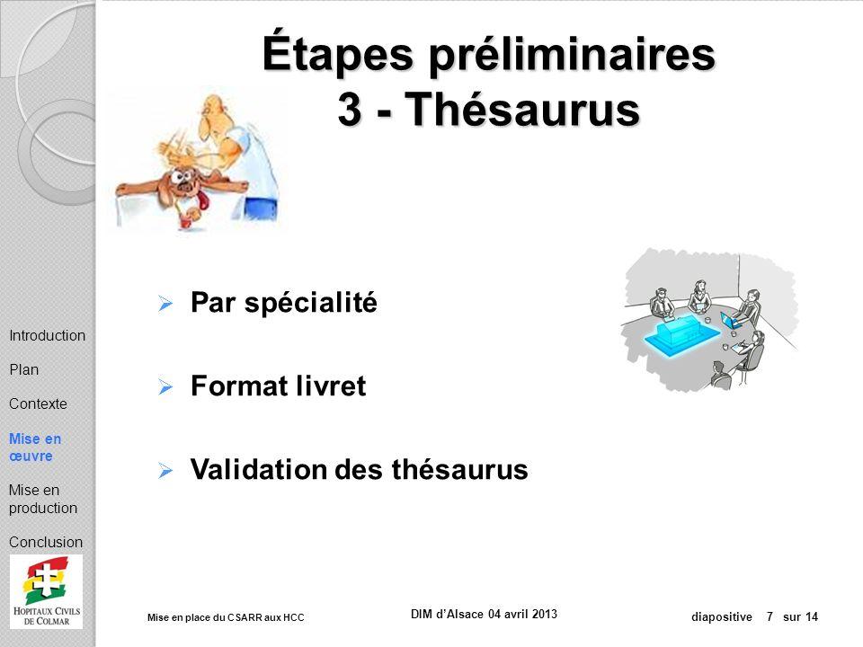Étapes préliminaires 3 - Thésaurus
