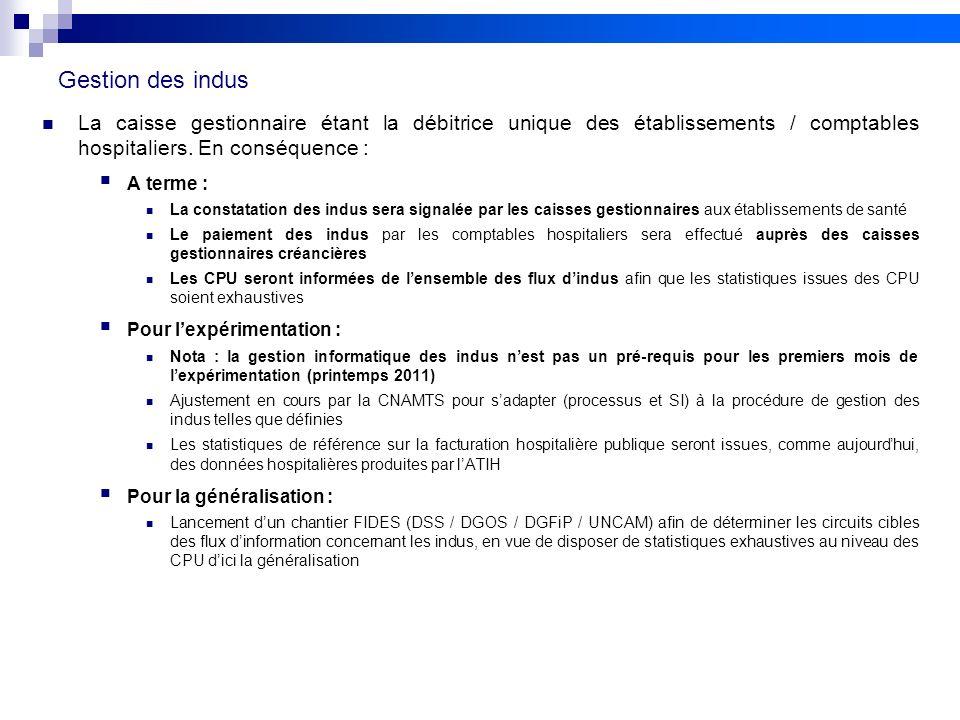 Gestion des indusLa caisse gestionnaire étant la débitrice unique des établissements / comptables hospitaliers. En conséquence :